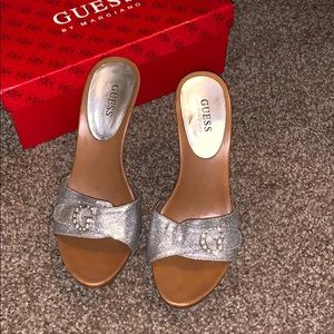 Guess by Marciano wooden slip on heels